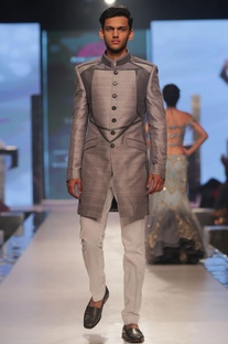 Patchwork & leather detailed sherwani with churidar