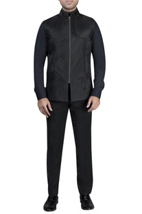Pleated jacket with shirt & trousers