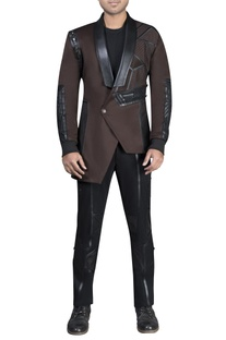 Asymmetric leather detailed jacket with athleisure pants