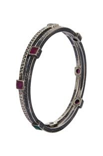 Pure silver bangles with semi precious stones