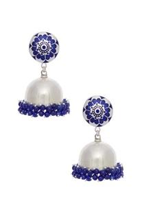 Enamelled silver earrings