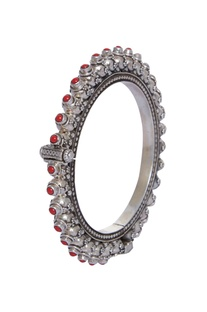 Pure silver bangle with semi precious stones