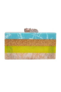 Statement clutch with natural stone knobs