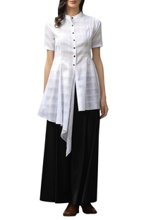 Checkered asymmetric shirt