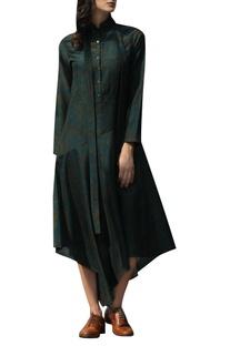 Printed layered asymmetric dress