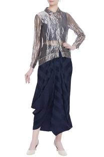 Sheer tunic shirt with draped skirt