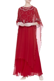 Flower embroidered cape with sharara pants