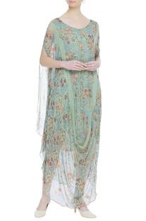 Cowl draped printed maxi dress