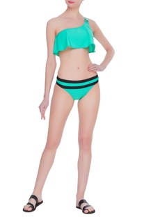 One shoulder bikini top with belted bottom