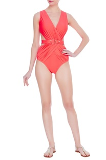 Neon draped swimsuit