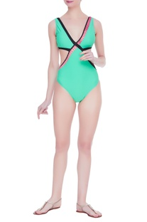 Nautical cutout swimsuit