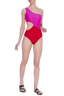 Color block one shoulder swimsuit