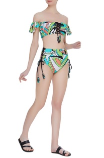 Ruffled bandeau top with high waist bikini bottom