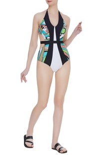 Color block swimsuit with belt