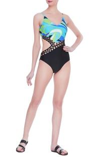Metal mesh waist detail swimsuit