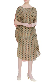 Earthy toned hand block print dress