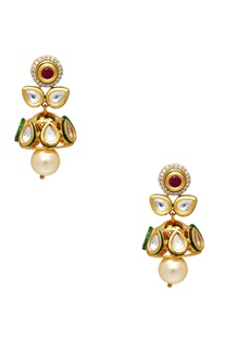 Layered mughal style necklace with earrings