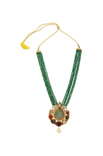 Tiered necklace with multi-faceted stones