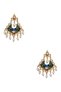 Meenakari painted earrings with dangling pearls