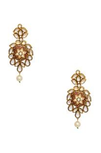 Oversized floral shape meenakari earrings