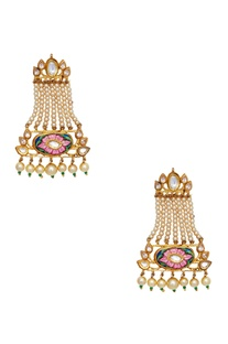 Meenakari & pearl detail passa earrings