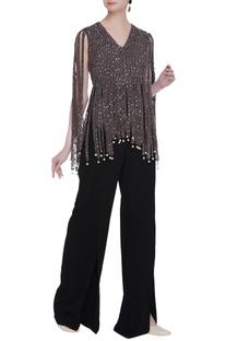 Crepe silk & net handcrafted sequin tassel cape blouse & pants