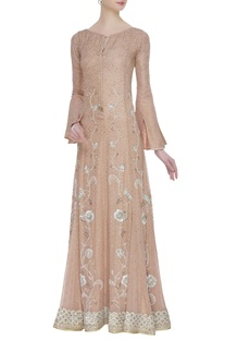 Sequin & pearl embroidered pleated gown