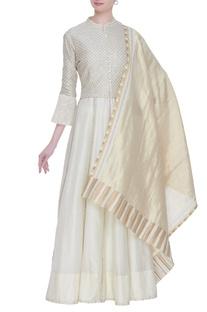 Chanderi lehenga with sequin blouse & dupatta
