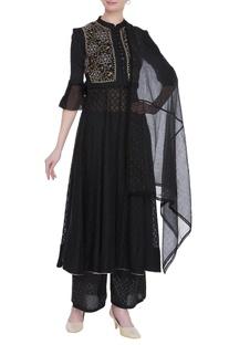 Chikankari embroidered waistcoat with anarkali, dupatta & pants