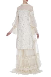 Butterfly net sequin bishop sleeve kurta & gharara set