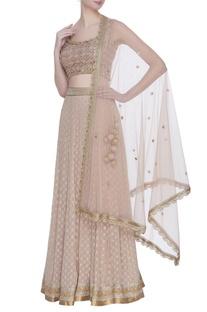Banarasi georgette pearl embroidered lehenga set