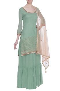 Pearl & sequin embroidered kurta & sharara set