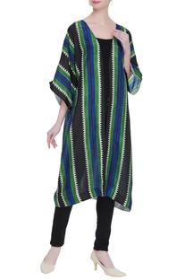 Dyed striped kimono jacket