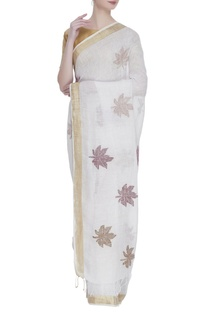 Linen sari with unstitched blouse fabric