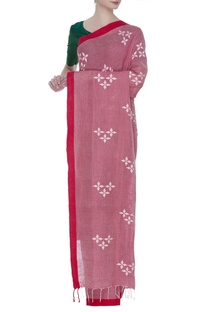 Cotton linen jamdani sari with unstitched blouse fabric