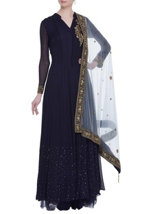 Embroidered anarkali with net skirt & dupatta