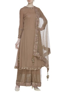 Flared kurta with palazzo pants & embroidered dupatta