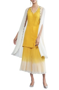 Tunic with attached cape & sharara pants