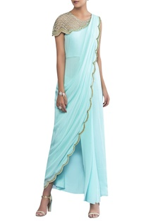 Draped sari with attached cape