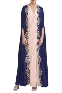 Draped sari with embroidered cape