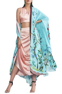Draped skirt with embroidered top and cape set