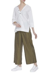 Striped cotton twill culottes