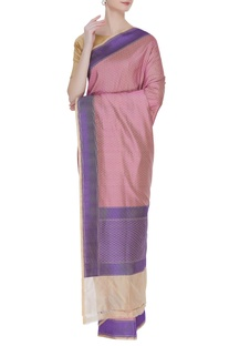 Banarasi woven dual color sari with unstitched blouse