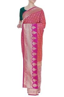 Banarasi silk woven sari with unstitched blouse