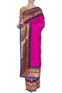 Tussar banarasi check pattern sari with unstitched blouse