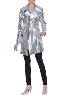 Metallic futuristic trench jacket