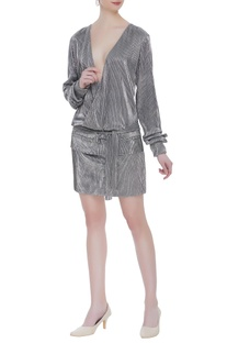 Metallic deep neckline mini dress