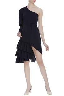 One shoulder frilly dress
