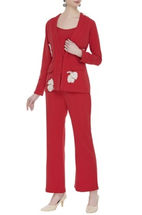 Tailored power suit in floral applique