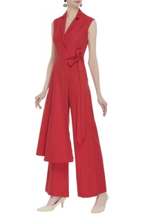 Red crepe silk jumpsuit